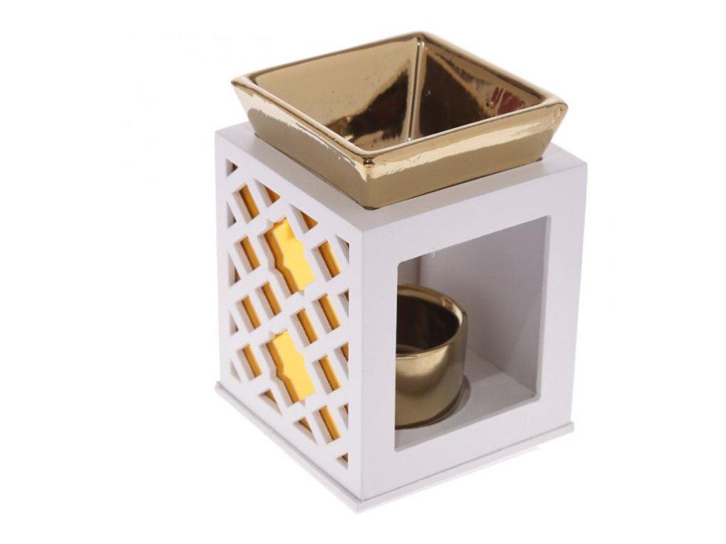 Aromalampa vyřezávaná zlatá s keramickou miskou