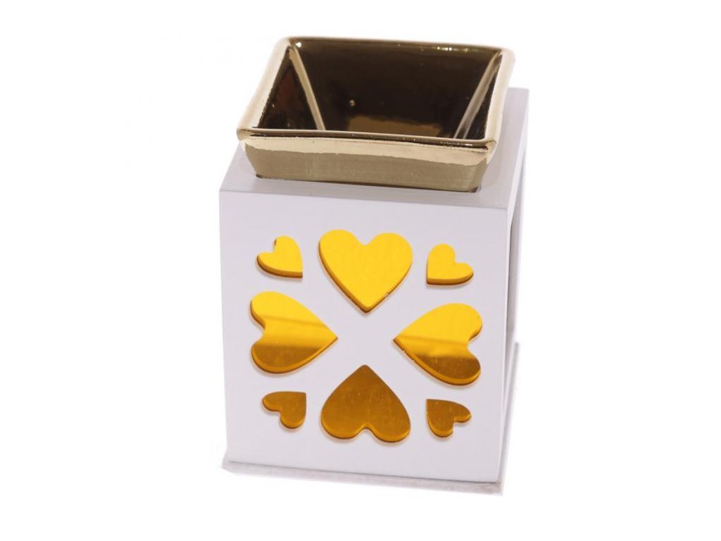 Aromalampa vyřezávaná zlatá s motivem srdce