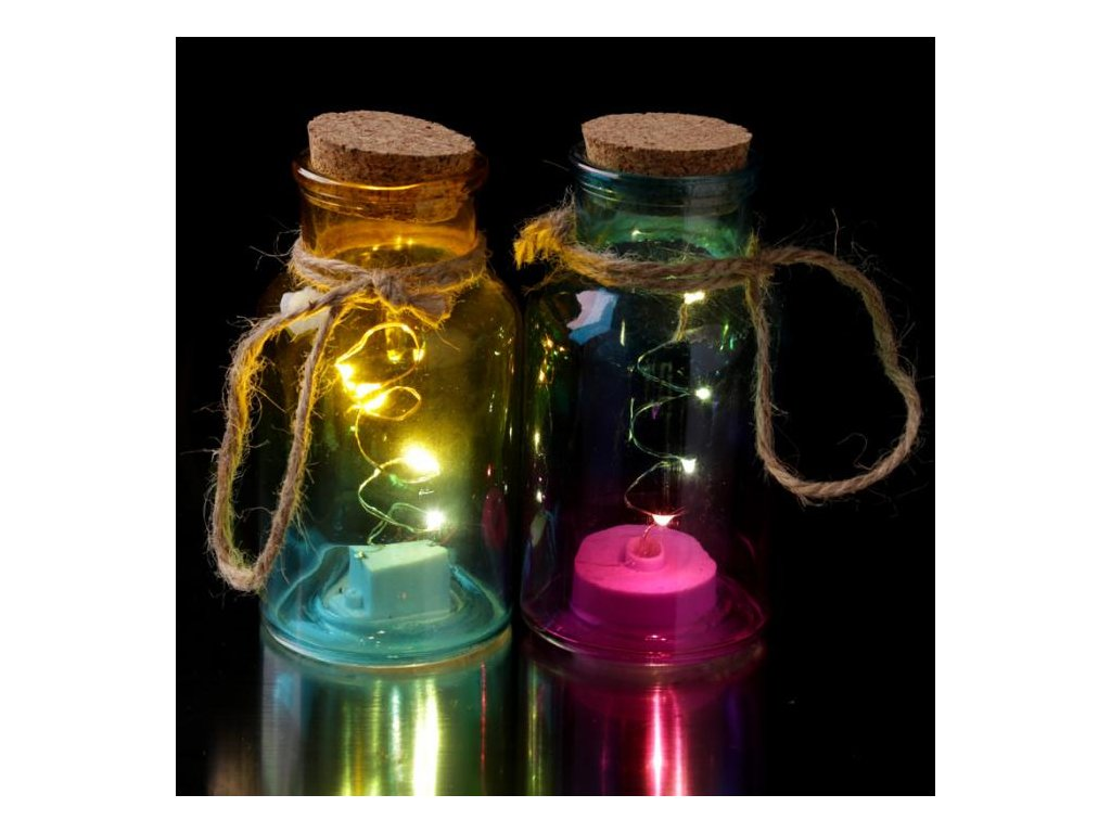 Dekorativní sklenice s korkovým špuntem a LED osvětlením