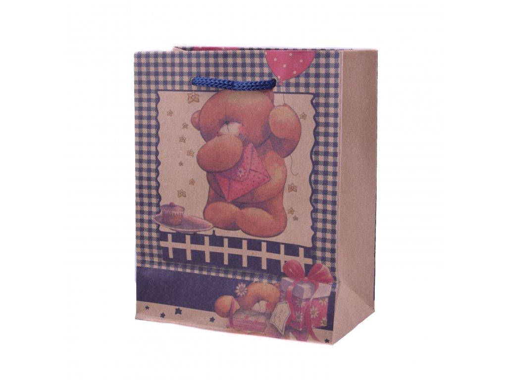 Dárková taška vzorovaná s medvídkem, různé velikosti