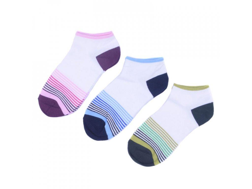 Kotníkové bavlněné ponožky s proužky 3 páry