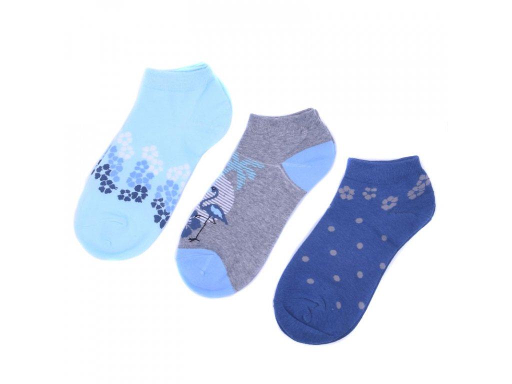 Veselé bavlněné ponožky modré 3 páry