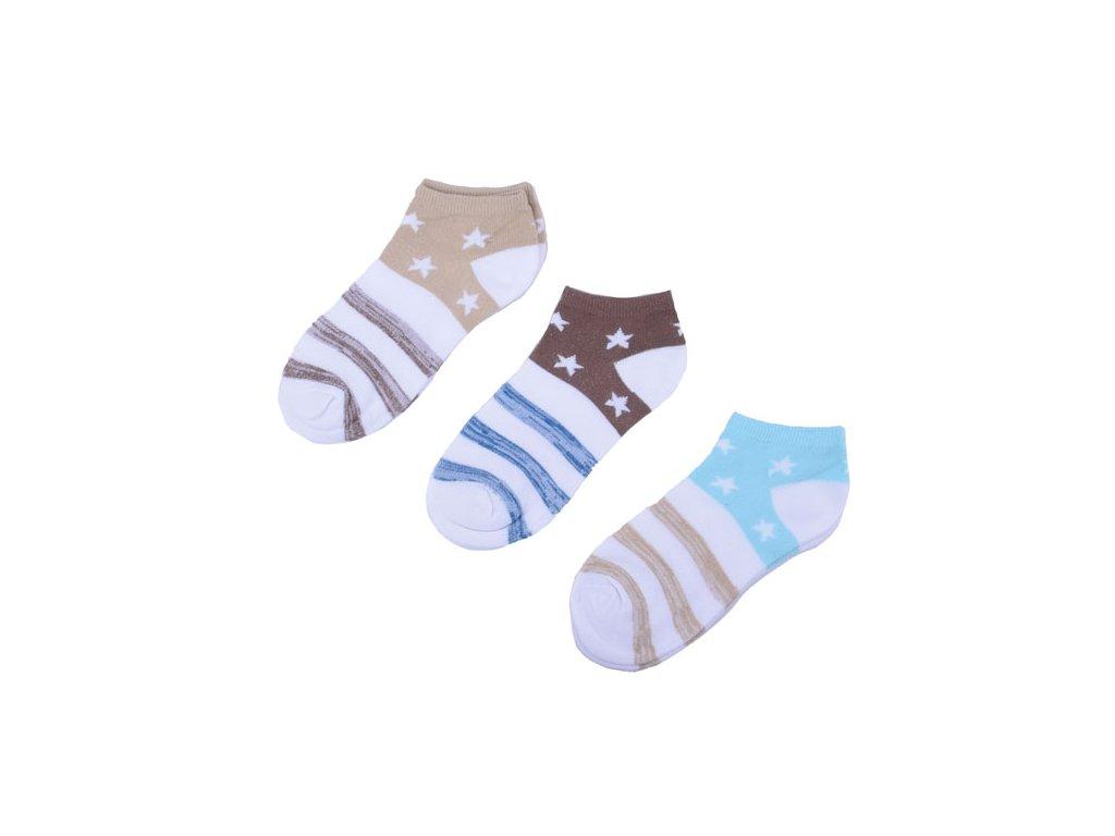 Kotníkové ponožky s hvězdičkami 3 páry/set6 vel. 39-42