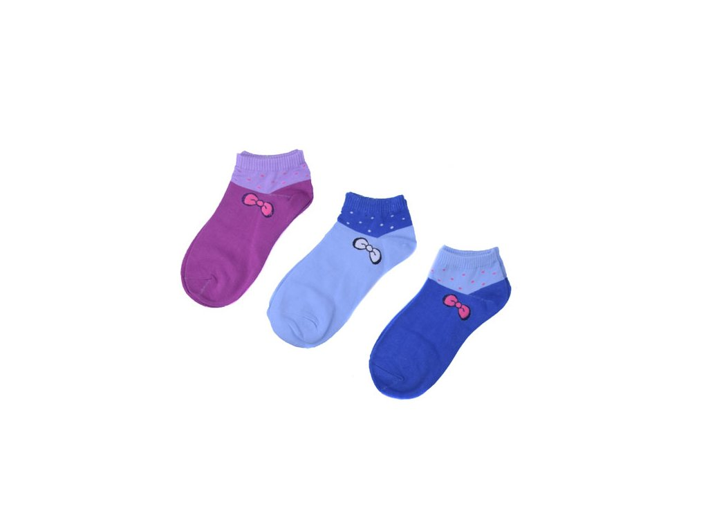 Kotníkové ponožky s mašličkou 3 páry/set1 vel. 35-38