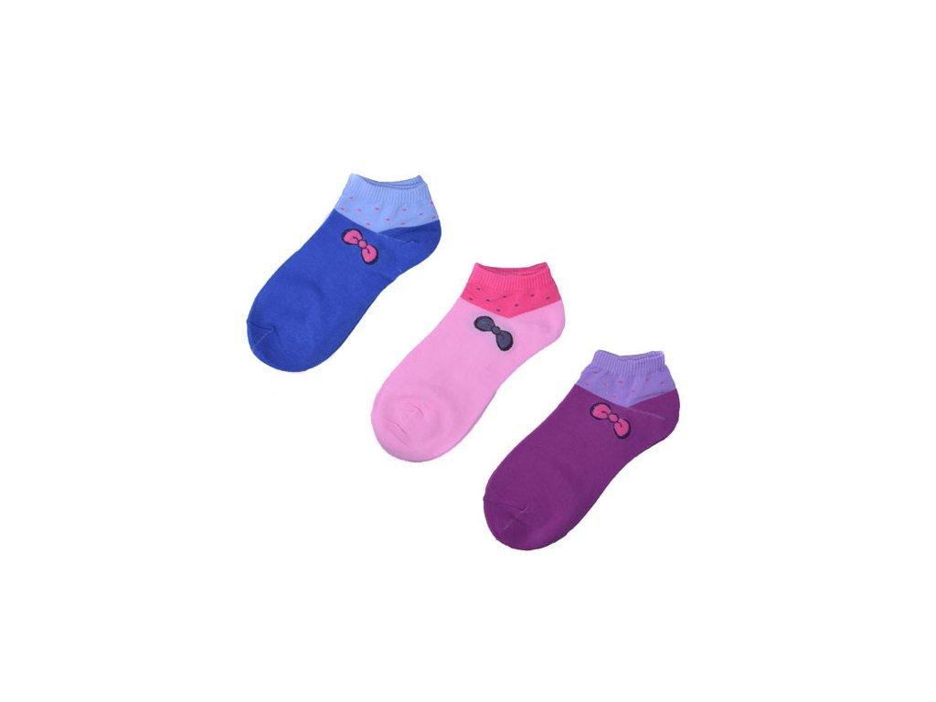 Kotníkové ponožky s mašličkou 3 páry/set4 vel. 37-42