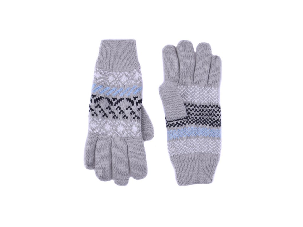Pletené rukavice vzorované 6 barev