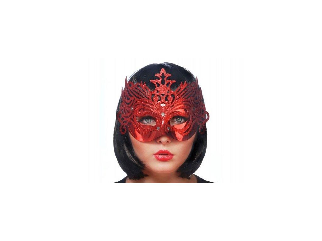 Maska s ornamenty červená