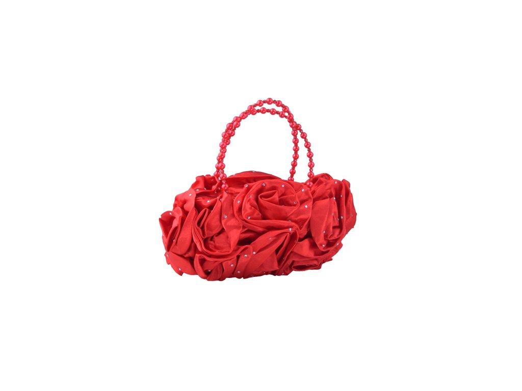 Psaníčko růže s kamínky a perličkami - červená