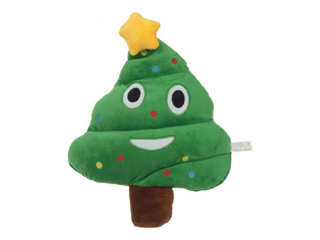 Puck Plyšový polštář Emotive Vánoční stromek zelená 42 cm