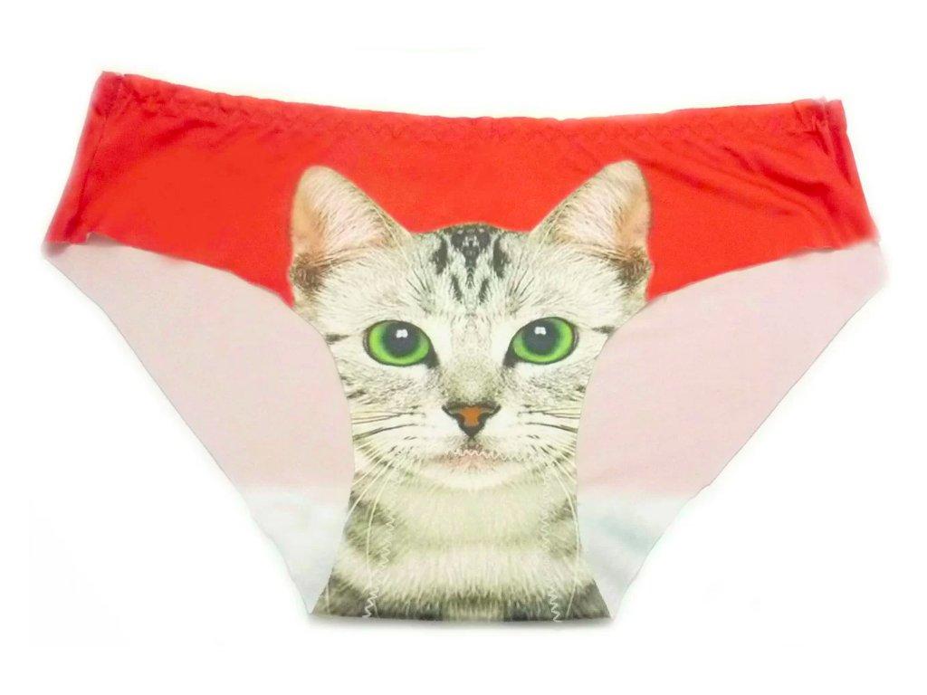 Dámské kalhotky s kočkou - červená
