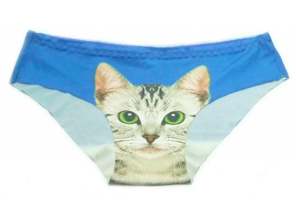 Dámské kalhotky s kočkou - modrá