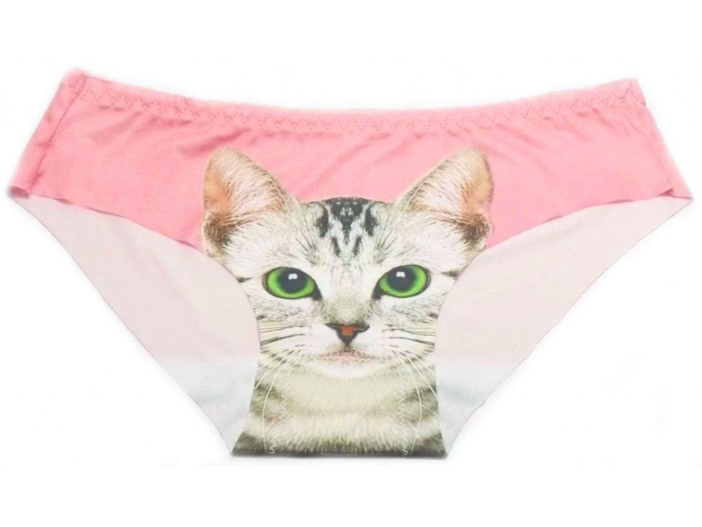 Dámské kalhotky s kočkou - růžová