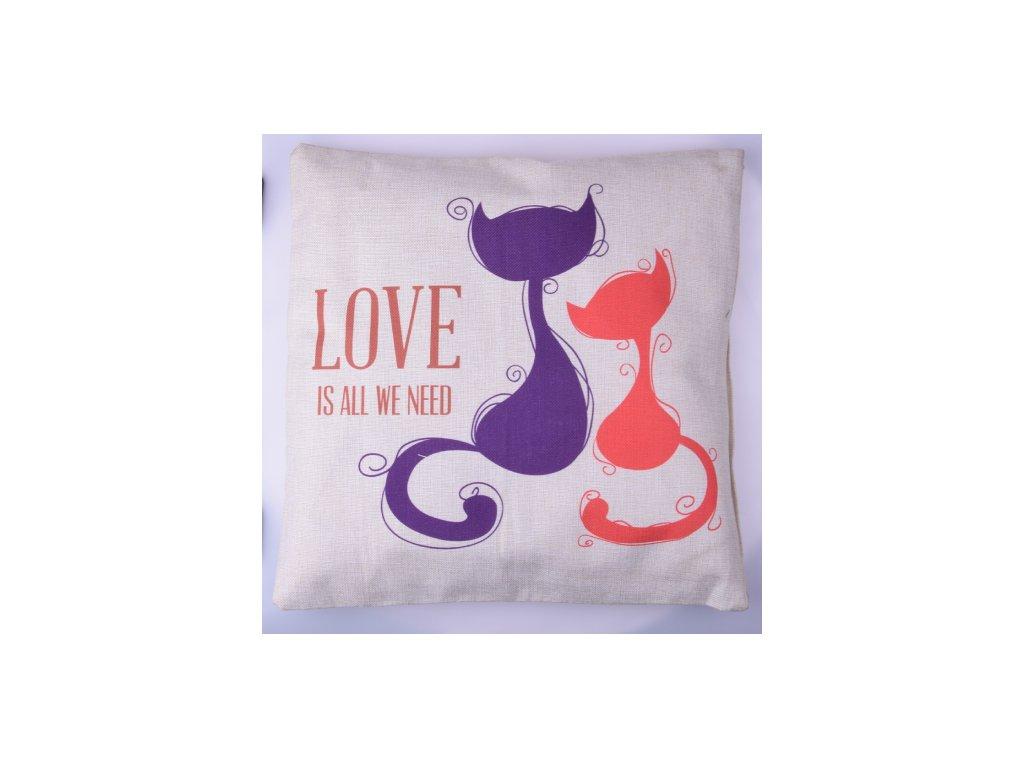 RS Povlak na polštář Cats love 44x44 cm