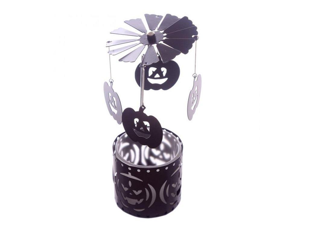 Halloweenský svícen s kolotočem Dýně
