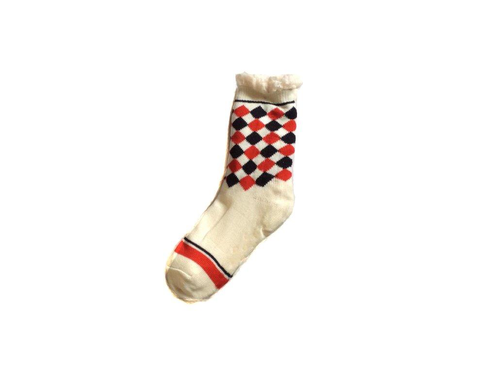 Domácí ponožky Vlajka s ovčí vlnou F