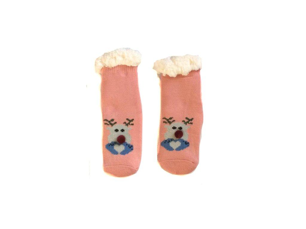 Dětské domácí ponožky s ovčí vlnou Sob s nosem - růžová