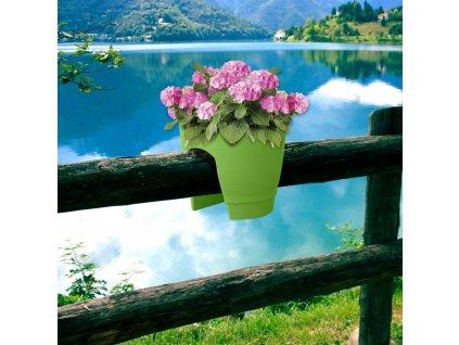 Květináč na zábradlí - zelený