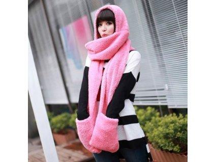Šála s kapucí a rukavicemi 3v1 - růžová