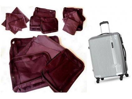 Sada cestovních organizérů do kufru - vínová
