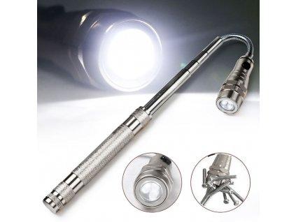 Teleskopická baterka - stříbrná