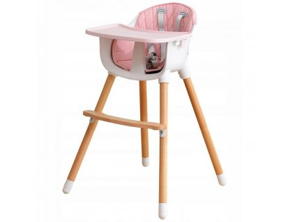 Dřevěná jídelní židlička 2v1 růžová
