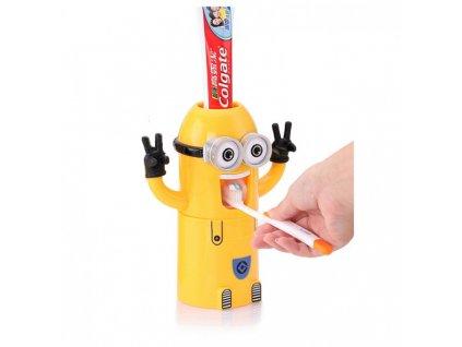Držák na zubní kartáčky s dávkovačem pasty Mimoni