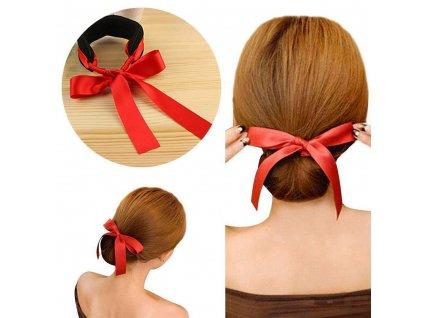Klip do vlasů s mašlí - červený