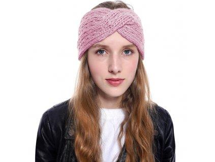 Pletená čelenka - růžová