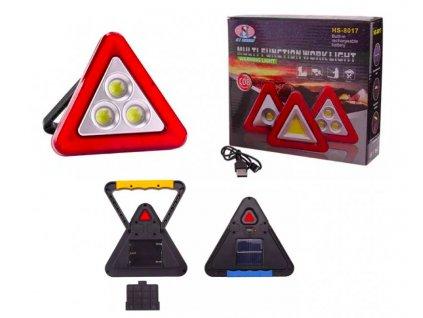 Blikající výstražní trojuhelník s led reflektorem