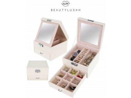 Beautylushh 8897 Šperkovnice se zrcadlem bílá