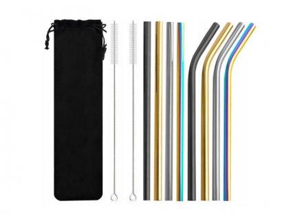 ISO 8654 Nerezová brčka 8ks + 2x kartáček na čištění barevné