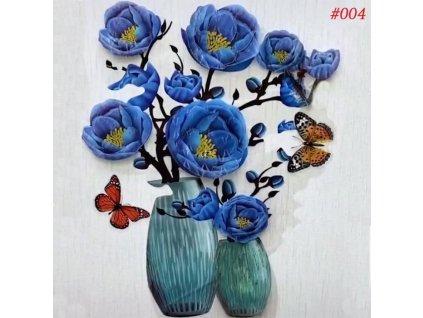 3D samolepka květina - modrá
