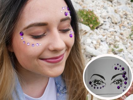 Nalepovací kamínky na obličej - fialové