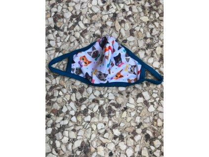 Rouška látková kočičky s motýlkem