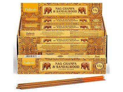 Vonné tyčinky Tulasi - Nag Champa a santalové dřevo