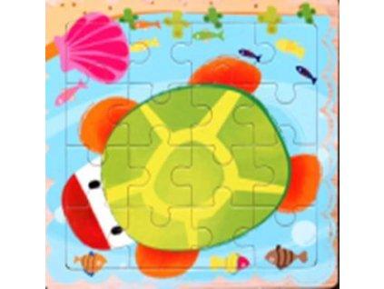 Dřevěné puzzle Želva 16 dílků