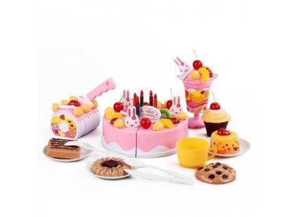 Dětský plastový narozeninový dort růžový KX9745