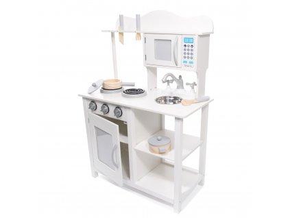 KIK Dětská dřevěná kuchyňka s příslušenstvím XL 85 cm bílá