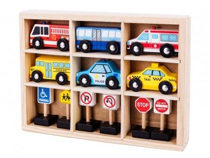 ECOTOYS dřevěná sada autíček a značek