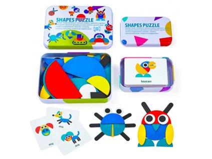 SHAPES PUZZLE Dřevěné puzzle a kartičky v krabičce