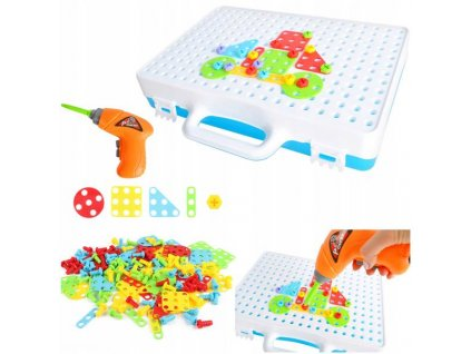Mozaika dětské puzzle plastové bloky + šroubovák
