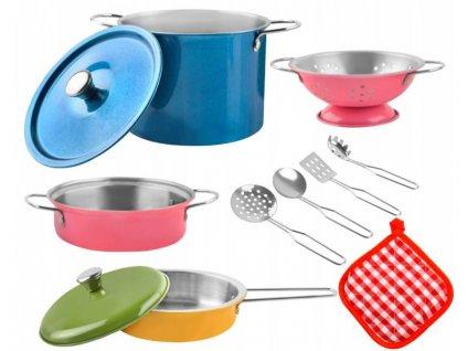 Sada kovového nádobí pro děti barevná 11dílů
