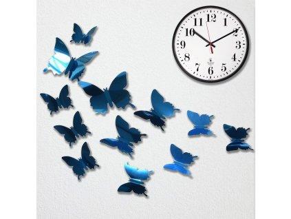 Zrcadlový motýl 12 ks - modrý