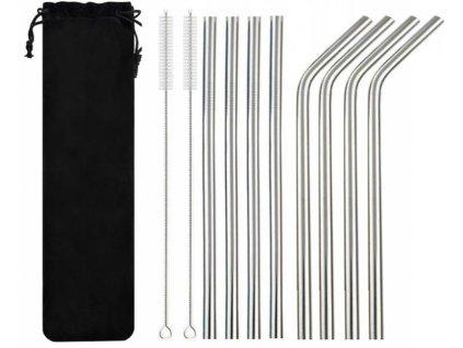 ISO Nerezová brčka 8ks + 2x kartáček na čištění