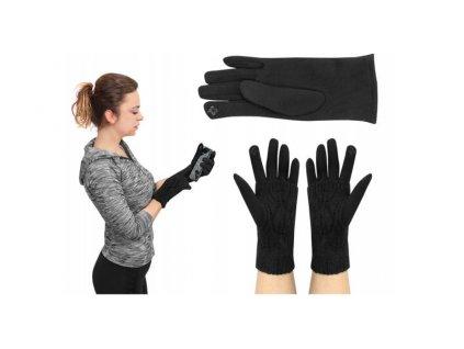 Zimní rukavice na dotykové displeje 2v1 černé