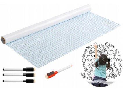 Samolepicí tabule na křídy + fixy 200x45cm bílá