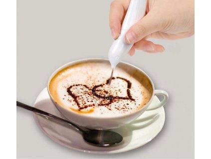 Dekorační pero k zdobení kávy