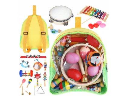 Kruzzel 9419 Sada dřevěných hudebních nástrojů pro děti 24 ks (natržený batůžek)