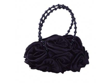 Psaníčko růže s perličkami - černá