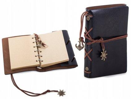 Cestovní deník s kompasem Vintage černá